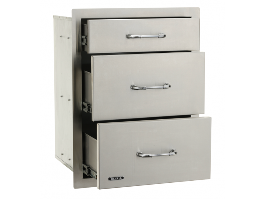 "Bull Outdoor Products Triple Drawers, 2+1, Stainless Steel ""New"" - 58110"